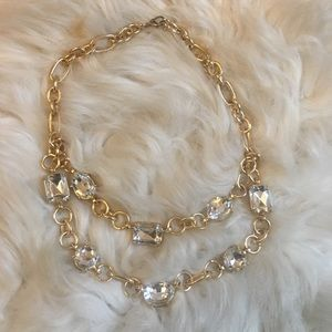 Gold tone Necklace with clear stones Glam Style